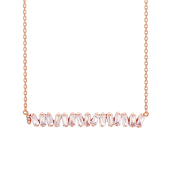 14K ROSE GOLD LARGE ZIGZAG BAR PENDANT WHITE TOPAZ