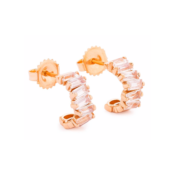 14K ROSE GOLD MOONSTONE HARMONY HUGGIE