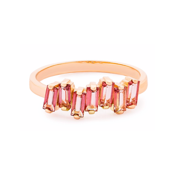 14K ROSE GOLD MORGANITE AMALFI WAVE BAND