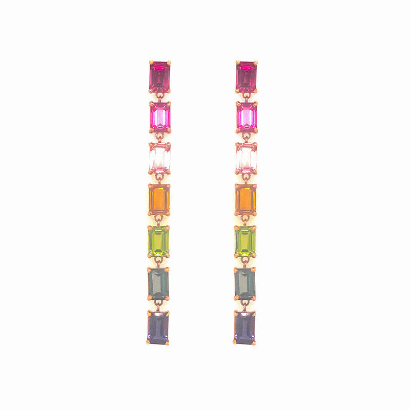14K ROSE GOLD RAINBOW DANGLE EARRINGS