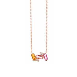 14K ROSE GOLD SMALL BAGUETTE BAR NECKLACE