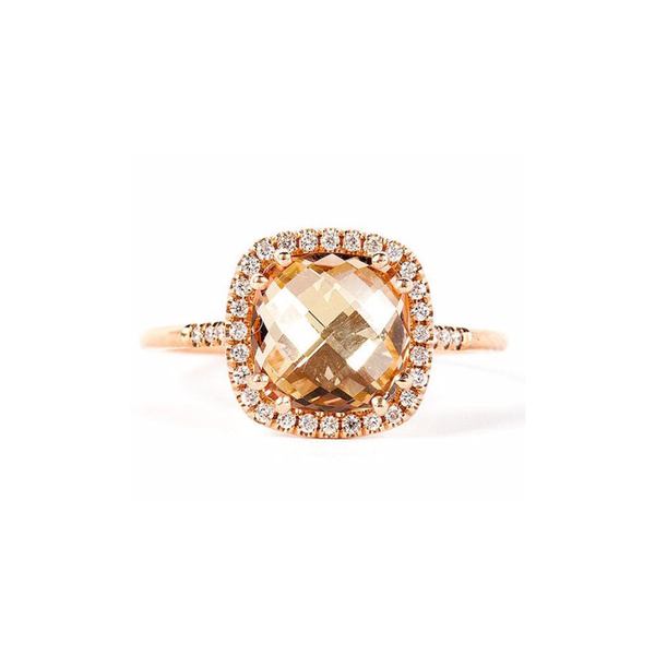 14K ROSE GOLD SUNRISE CUSHION CUT RING