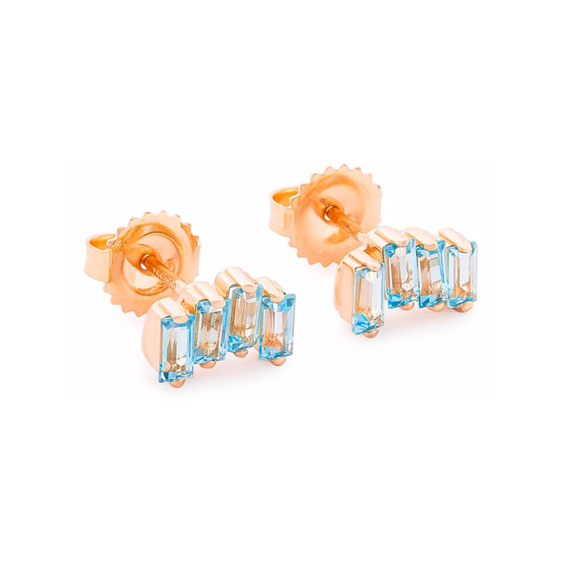 14K ROSE GOLD WAVE POST EARRINGS
