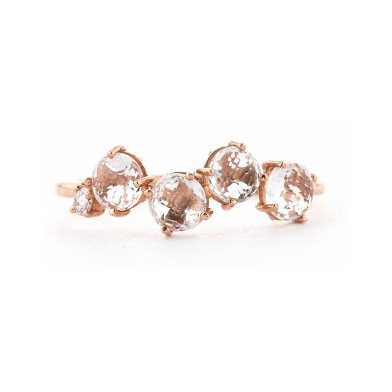 14K ROSE GOLD WHITE TOPAZ POPPY RING