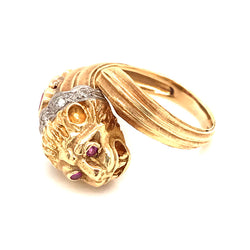 VINTAGE RUBY DIAMOND DRAGON RING