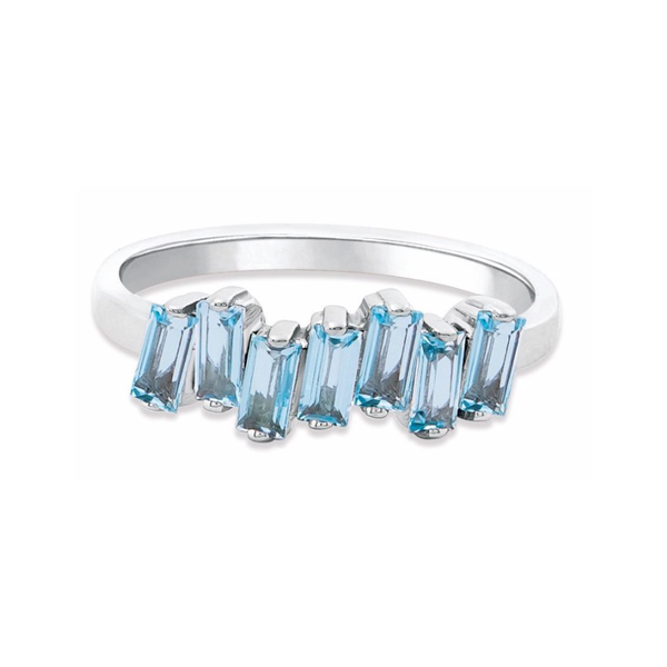 14K WHITE GOLD BLUE TOPAZ AMALFI WAVE BAND