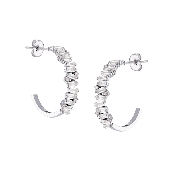 14K WHITE GOLD FRENESIA WHITE TOPAZ HOOP EARRINGS
