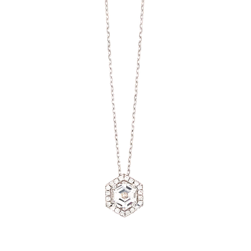 14K WHITE GOLD HEXAGON  WHITE TOPAZ WITH DIAMONDS NECKLACE