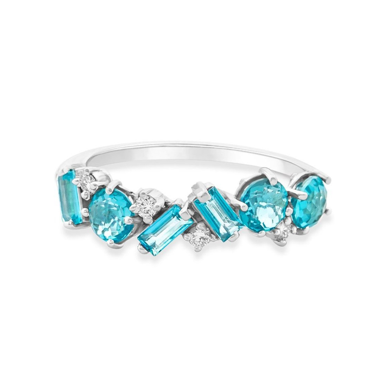 14K WHITE GOLD PARAIBA TOPAZ AMALFI MIX BAND