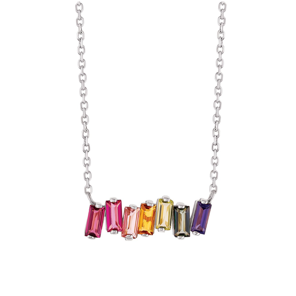 14K ROSE GOLD RAINBOW TOPAZ BAGUETTE BAR NECKLACE