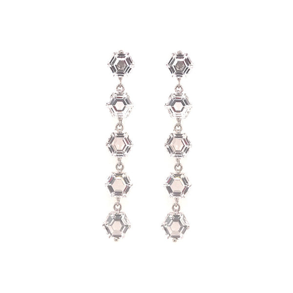14K WHITE GOLD WHITE TOPAZ DANGLE EARRINGS
