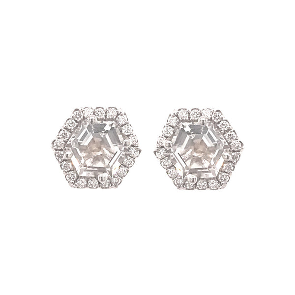 14K WHITE GOLD WHITE TOPAZ HEXAGON POST EARRINGS WITH DIAMONDS