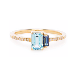 14K YELLOW GOLD BLUE TOPAZ BELLA RING