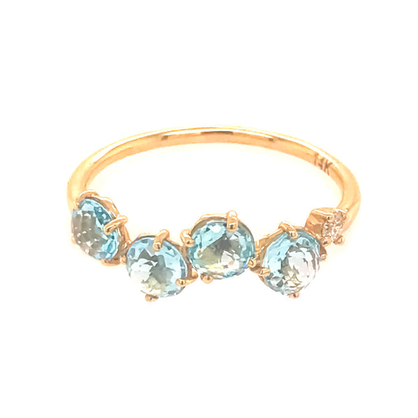 14K YELLOW GOLD BLUE TOPAZ POPPY RING