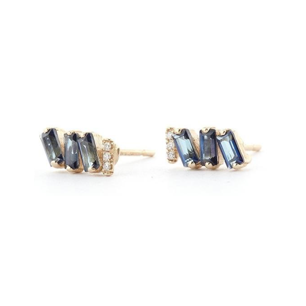 14K YELLOW GOLD BLUE TOPAZ ZIG ZAG STUDS