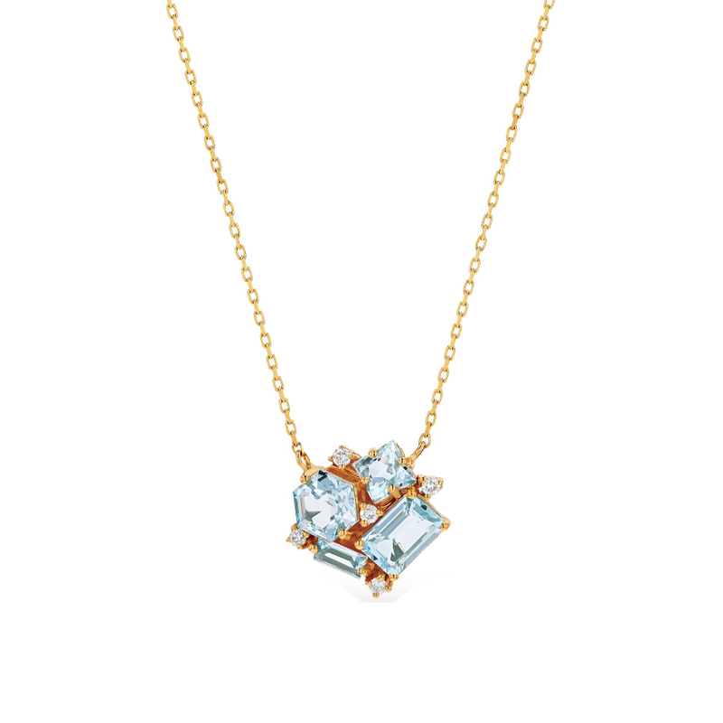 14K ROSE GOLD CLUSTER BLUE TOPAZ NECKLACE