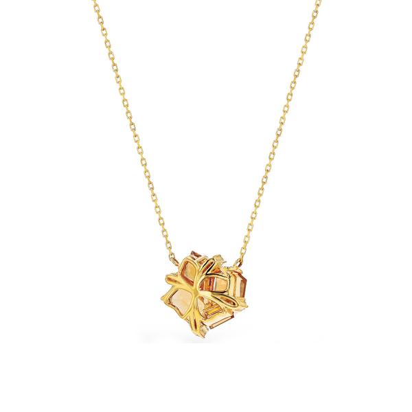 14K YELLOW GOLD CLUSTER CITRINE NECKLACE