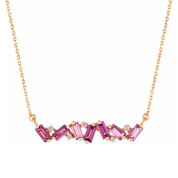 14K YELLOW GOLD FRENESIA RHODOLITE BAR NECKLACE