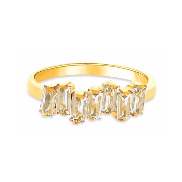 14K YELLOW GOLD GREEN AMETHYST AMALFI WAVE BAND