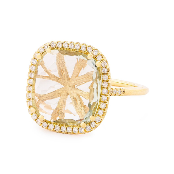 14K YELLOW GOLD LARGE CUSHION SOLEIL RING