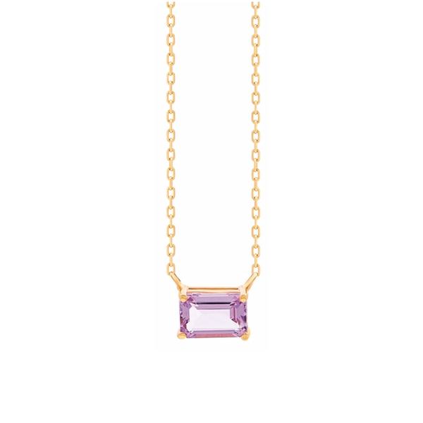 14K YELLOW GOLD PETITE EMERALD CUT NECKLACE