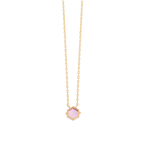 14K YELLOW GOLD PETITE PINK TOPAZ HEXAGON NECKLACE