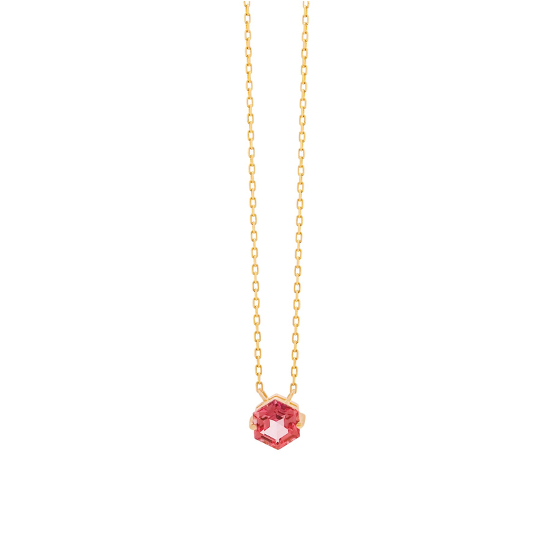 14K ROSE GOLD PETITE SALMON TOPAZ HEXAGON NECKLACE