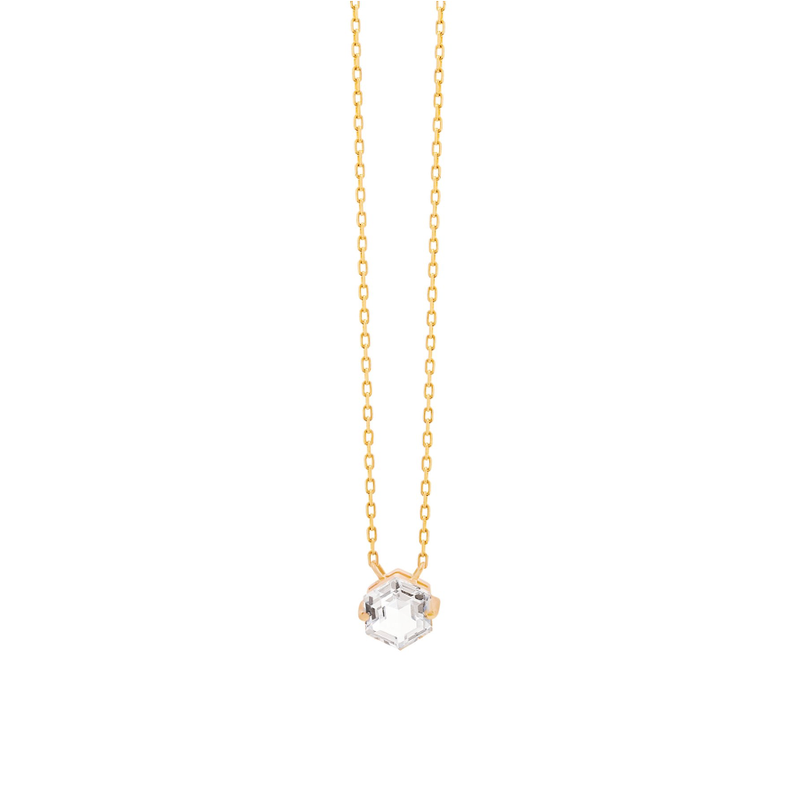 14K YELLOW GOLD PETITE WHITE TOPAZ HEXAGON NECKLACE