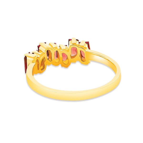 14K YELLOW GOLD RHODOLITE AMALFI WAVE BAND