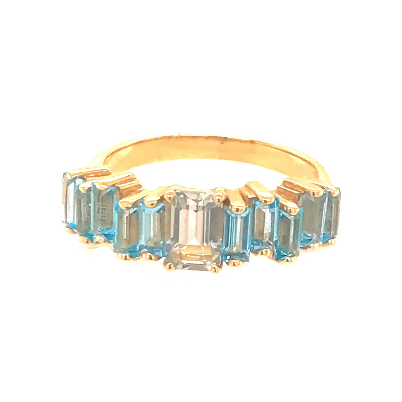 14K YELLOW GOLD SWISS BLUE TOPAZ AMALFI EMERALD CUT RING