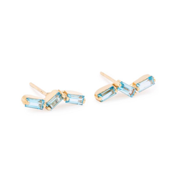 14K YELLOW GOLD THIN BAGUETTE POST EARRINGS