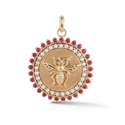 14k Gold and Gemstone Bee Medallion