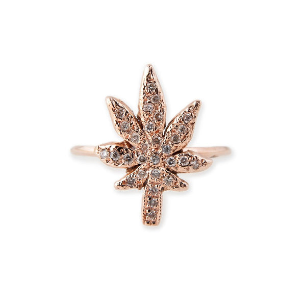 Large Pave Sweet Leaf Ring