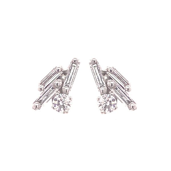 18K WHITE GOLD 3 BAGUETTE CLUSTER EARRINGS
