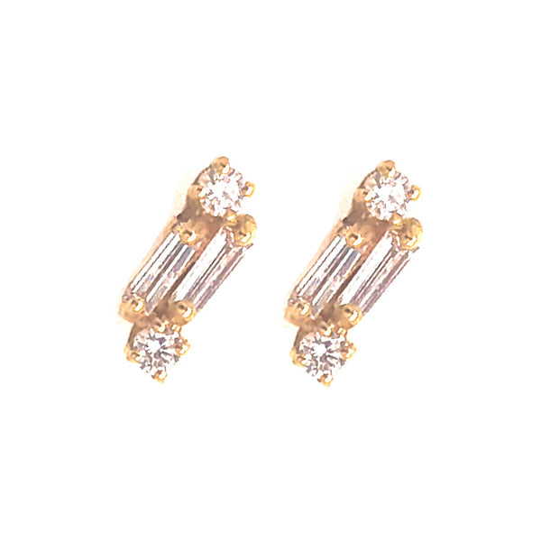 18K YELLOW GOLD BAGUETTE STUDS