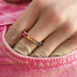 18K PRINCESS CUT RAINBOW ETERNITY BAND