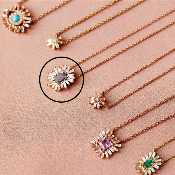 18K ROSE GOLD FIREWORKS OPAL PENDANT - ONE OF A KIND