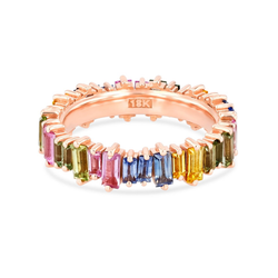 18K ROSE GOLD PASTEL FIREWORKS CLASSIC ETERNITY BAND