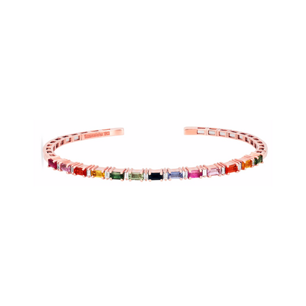 18K ROSE GOLD RAINBOW FIREWORKS HORIZONTAL BANGLE