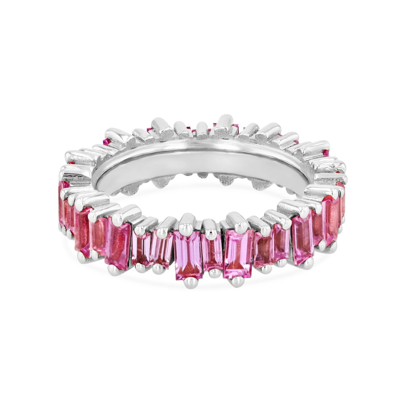 18K PINK SAPPHIRE BAGUETTE ETERNITY BAND