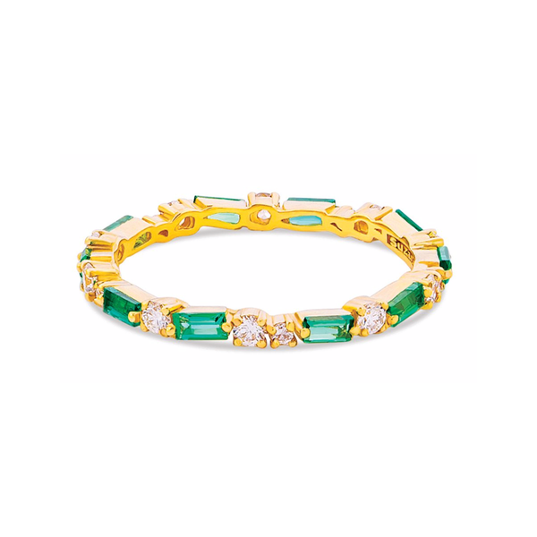 18K YELLOW GOLD EMERALD THIN MIX ETERNITY BAND