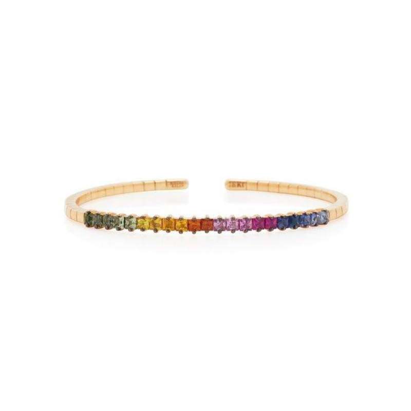 18K YELLOW GOLD PRINCESS CUT RAINBOW SAPPHIRE BANGLE