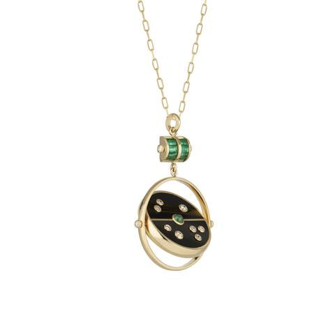 GRANDFATHER COMPASS PENDANT - BLACK ONYX WITH EMERALD