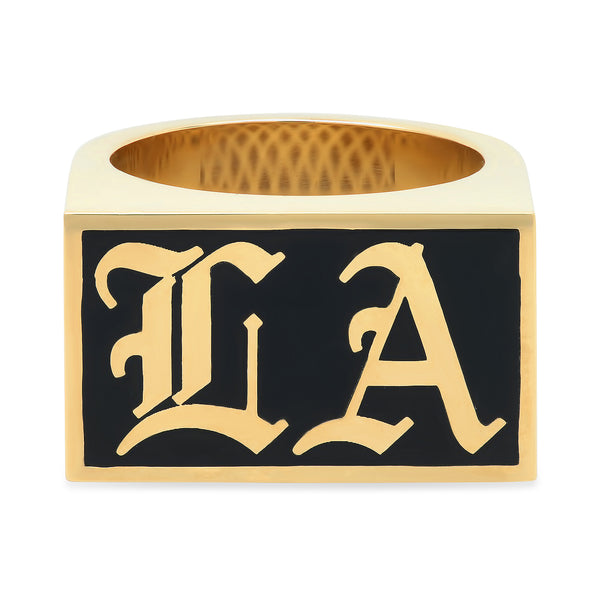 """LA"" BLACK ENAMEL RING"