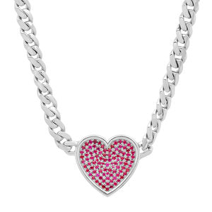 Ruby Heart Necklace on Thick Chain
