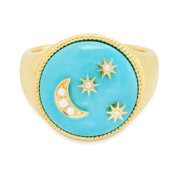 Moon and Stars Signet - Turquoise