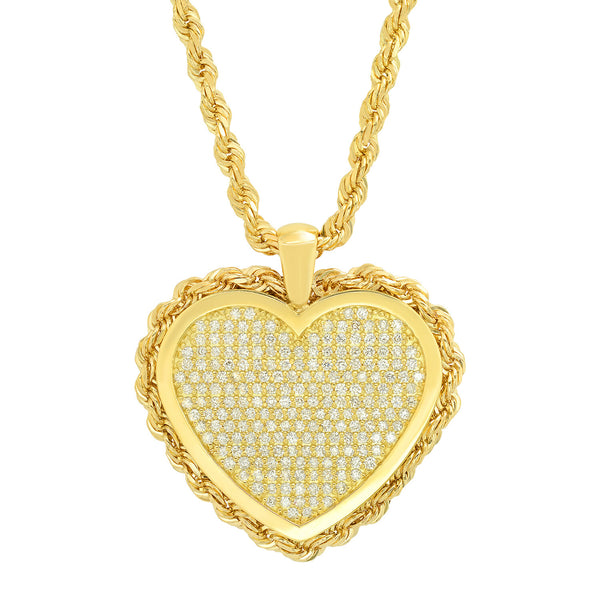 Pave Heart Medallion