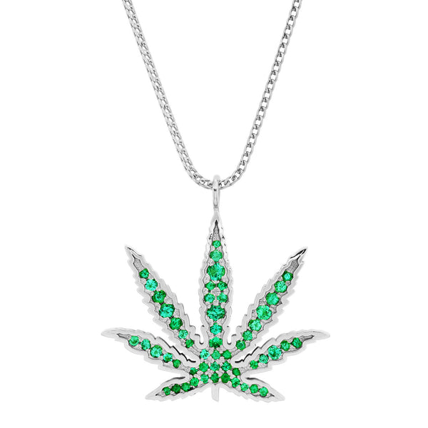 Emerald cannabis pendant necklace