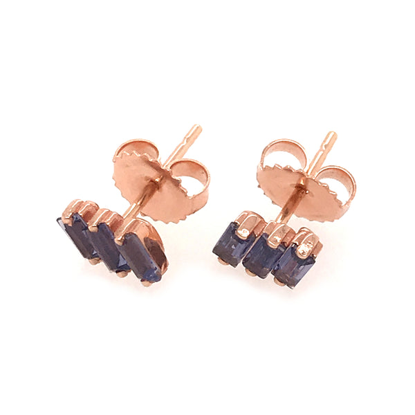 14K YELLOW GOLD 3 BAGUETTE FIREWORK POST EARRINGS