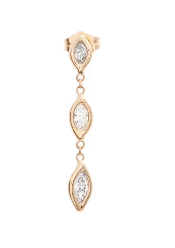 3 Marquis Diamond Drop Earring